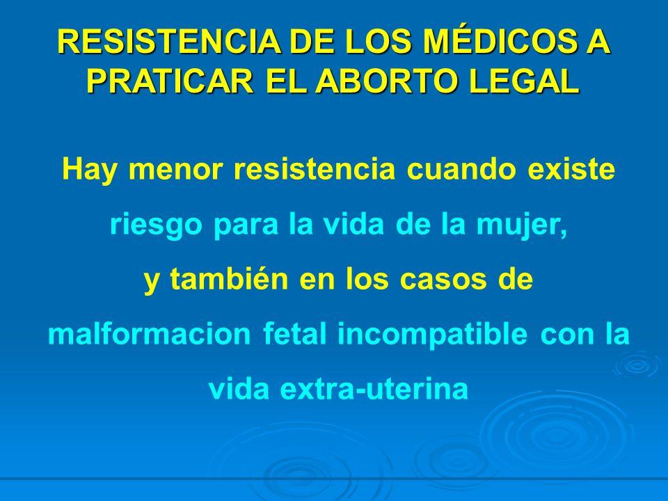 RESISTENCIA DE LOS MÉDICOS A PRATICAR EL ABORTO LEGAL Hay menor resistencia cuando existe riesgo para la vida de la mujer, y también en los casos de m