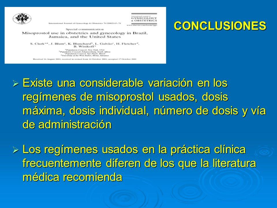 Existe una considerable variación en los regímenes de misoprostol usados, dosis máxima, dosis individual, número de dosis y vía de administración Exis