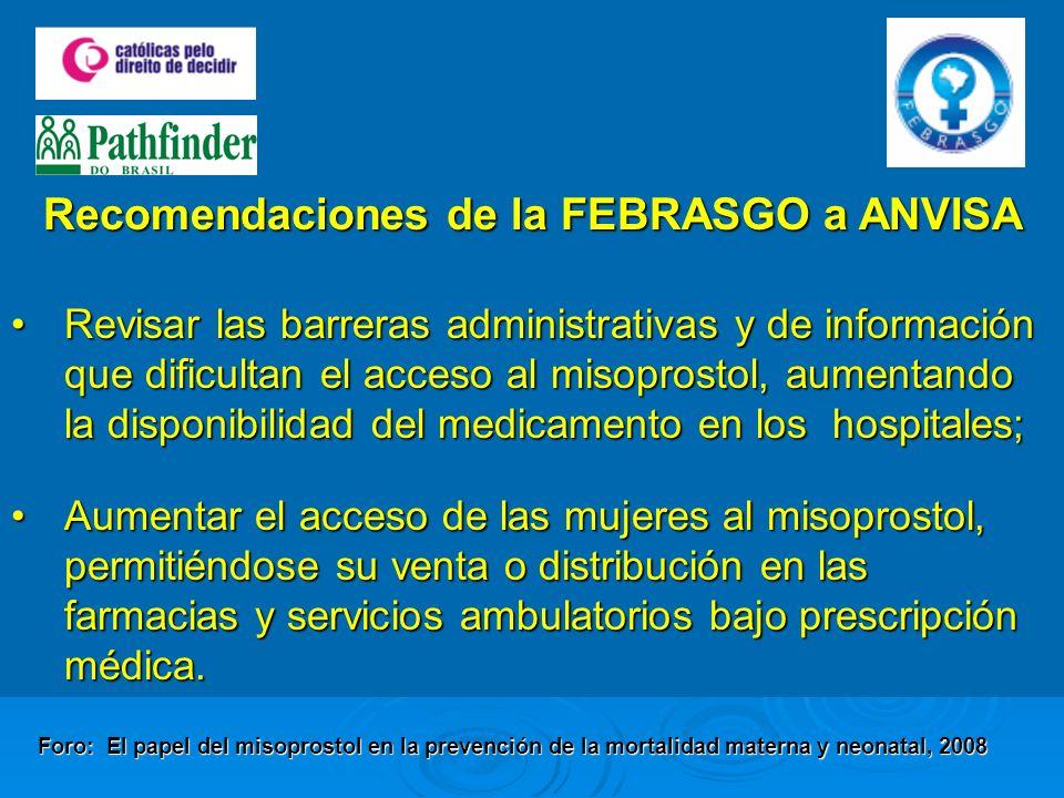 Revisar las barreras administrativas y de información que dificultan el acceso al misoprostol, aumentando la disponibilidad del medicamento en los hos