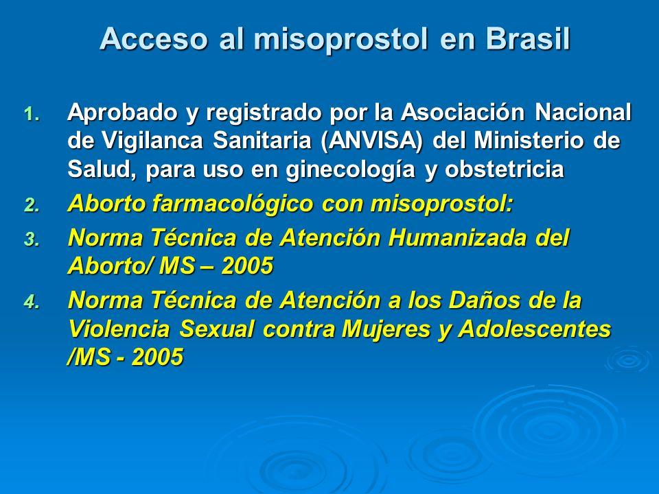 Acceso al misoprostol en Brasil 1. Aprobado y registrado por la Asociación Nacional de Vigilanca Sanitaria (ANVISA) del Ministerio de Salud, para uso