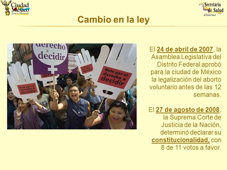 Cambio en la ley El 24 de abril de 2007, la Asamblea Legislativa del Distrito Federal aprobó para la ciudad de México la legalización del aborto volun