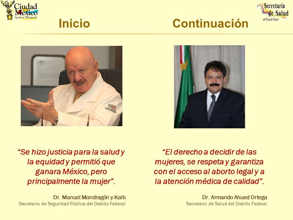 Inicio Se hizo justicia para la salud y la equidad y permitió que ganara México, pero principalmente la mujer. Dr. Manuel Mondragòn y Kalb Secretario