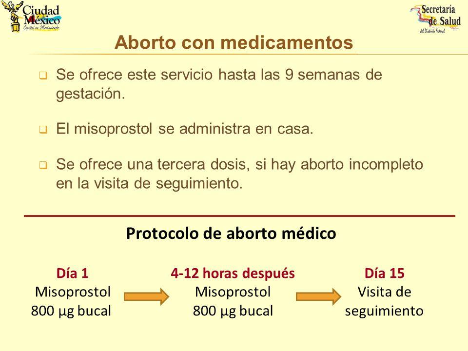 Se ofrece este servicio hasta las 9 semanas de gestación. El misoprostol se administra en casa. Se ofrece una tercera dosis, si hay aborto incompleto