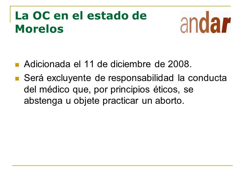 La OC en el estado de Morelos Adicionada el 11 de diciembre de 2008. Será excluyente de responsabilidad la conducta del médico que, por principios éti