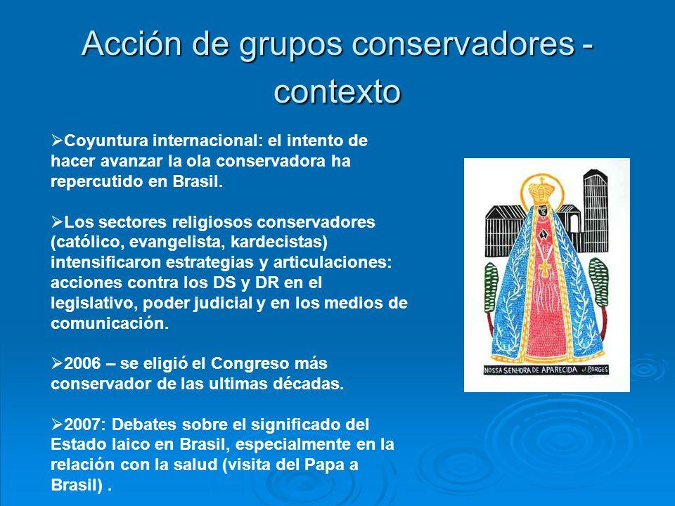 Acción de grupos conservadores - contexto Coyuntura internacional: el intento de hacer avanzar la ola conservadora ha repercutido en Brasil.