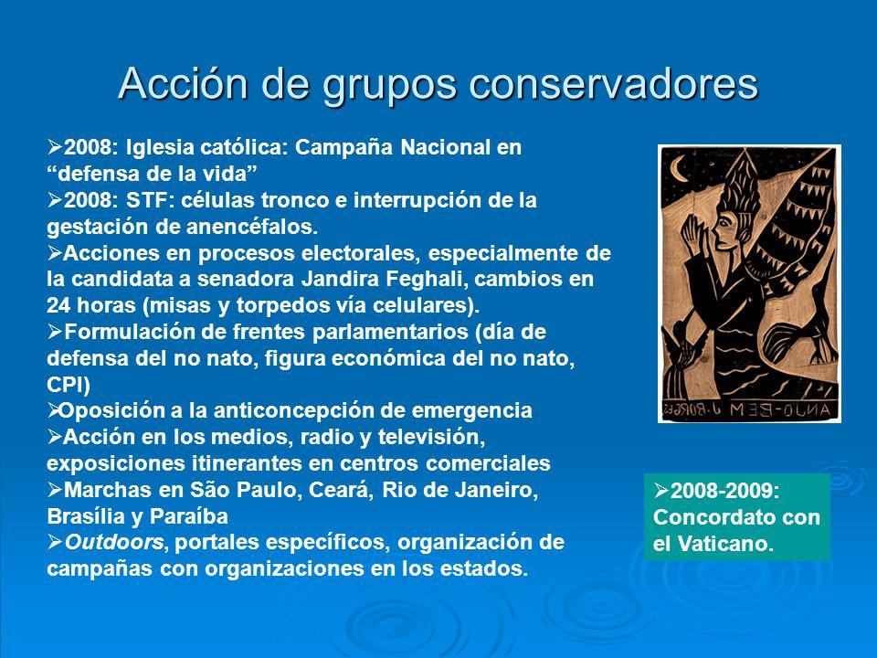 Acción de grupos conservadores 2008: Iglesia católica: Campaña Nacional en defensa de la vida 2008: STF: células tronco e interrupción de la gestación de anencéfalos.