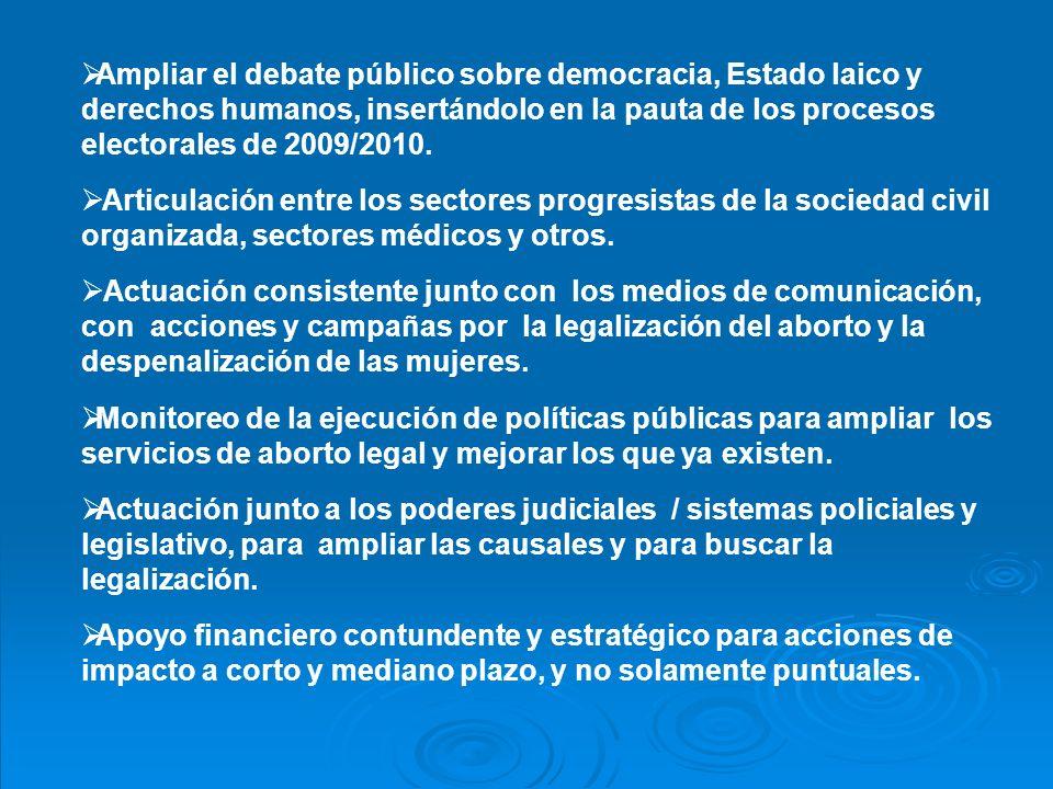 Ampliar el debate público sobre democracia, Estado laico y derechos humanos, insertándolo en la pauta de los procesos electorales de 2009/2010.