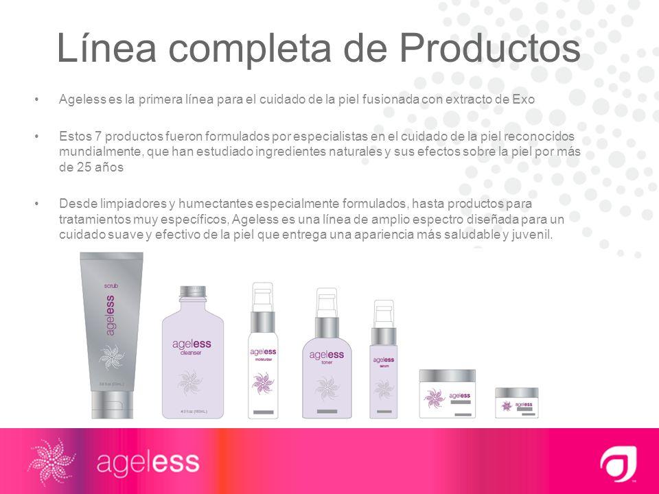 Línea completa de Productos Ageless es la primera línea para el cuidado de la piel fusionada con extracto de Exo Estos 7 productos fueron formulados p