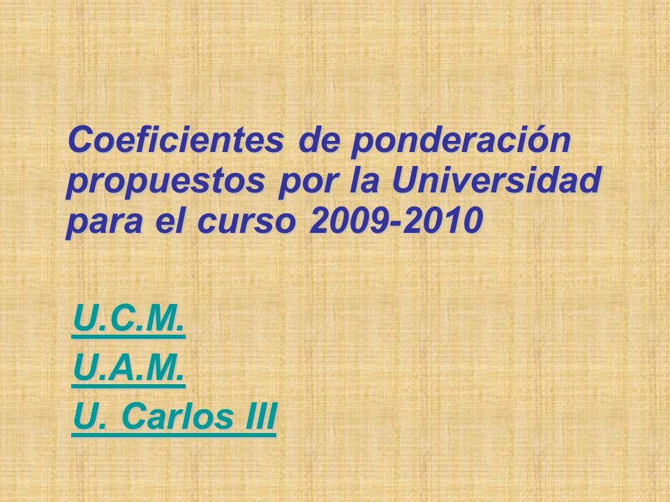 Coeficientes de ponderación propuestos por la Universidad para el curso 2009-2010 U.C.M.