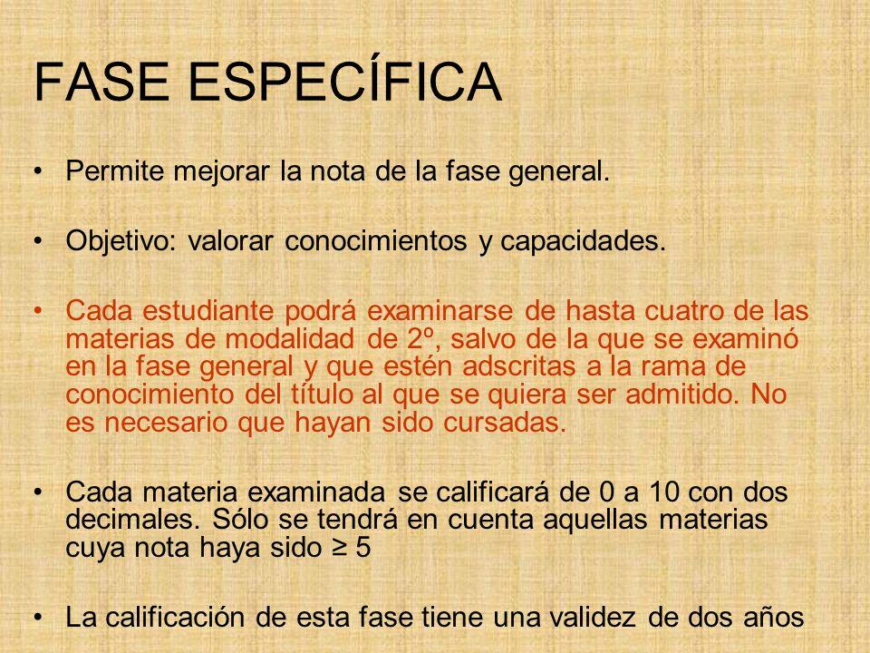 FASE ESPECÍFICA Permite mejorar la nota de la fase general.