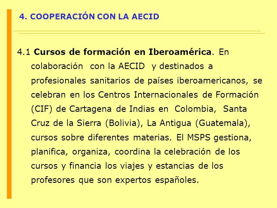 4. COOPERACIÓN CON LA AECID 4.1 Cursos de formación en Iberoamérica. En colaboración con la AECID y destinados a profesionales sanitarios de países ib