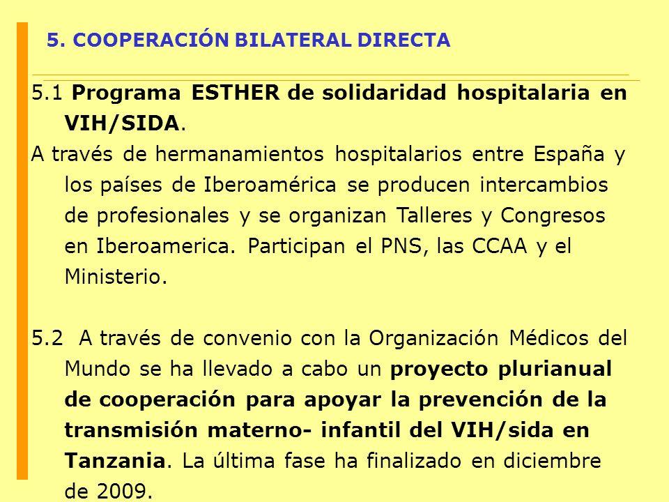 5. COOPERACIÓN BILATERAL DIRECTA 5.1 Programa ESTHER de solidaridad hospitalaria en VIH/SIDA. A través de hermanamientos hospitalarios entre España y