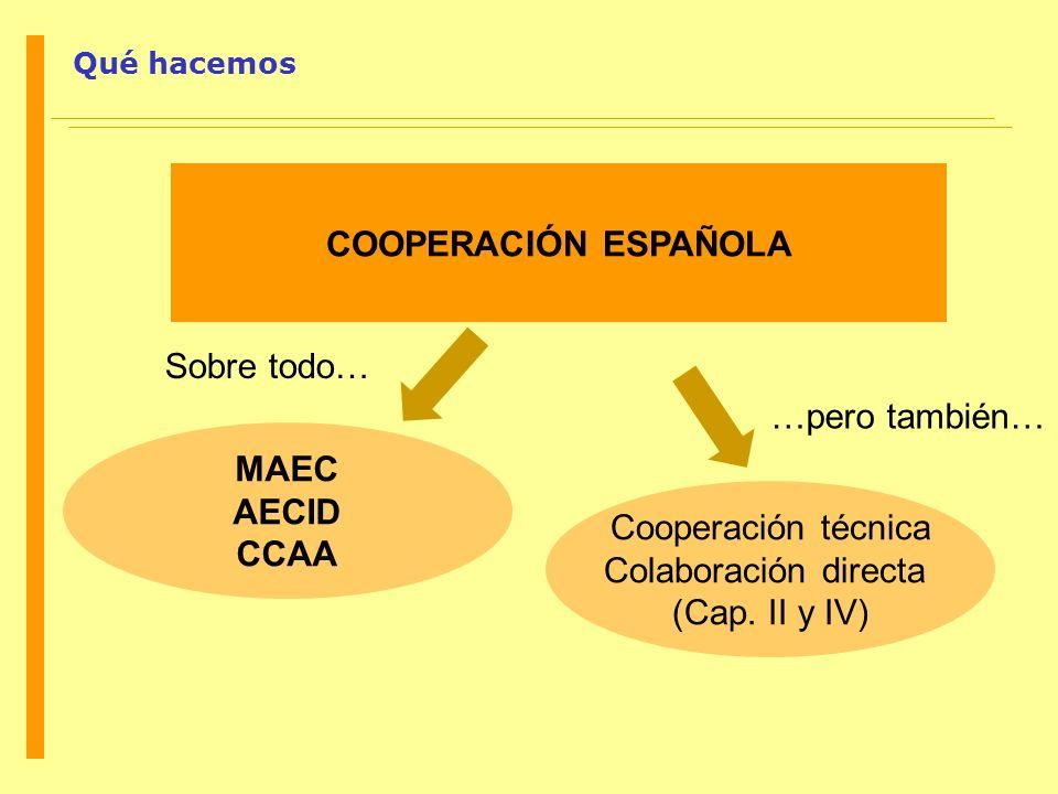 COOPERACIÓN ESPAÑOLA MAEC AECID CCAA Cooperación técnica Colaboración directa (Cap. II y IV) Qué hacemos …pero también… Sobre todo…