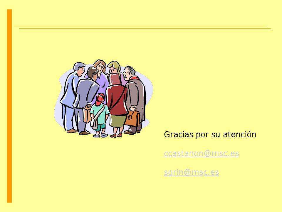 Gracias por su atención ccastanon@msc.es sgrin@msc.es