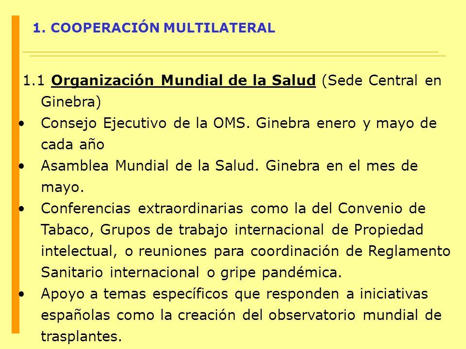 1. COOPERACIÓN MULTILATERAL 1.1 Organización Mundial de la Salud (Sede Central en Ginebra) Consejo Ejecutivo de la OMS. Ginebra enero y mayo de cada a