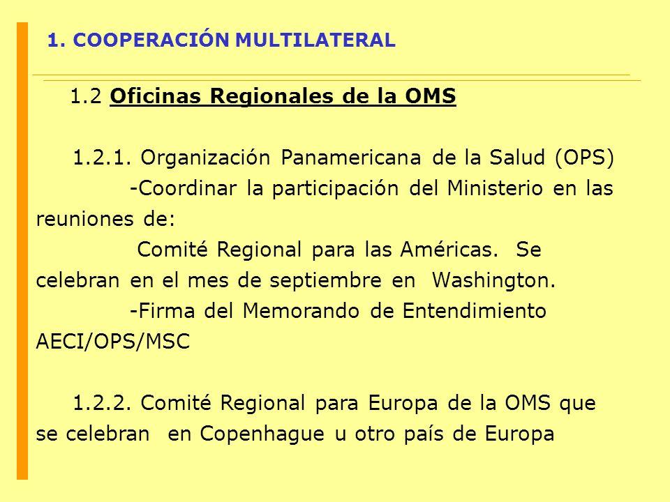 1. COOPERACIÓN MULTILATERAL 1.2 Oficinas Regionales de la OMS 1.2.1. Organización Panamericana de la Salud (OPS) -Coordinar la participación del Minis