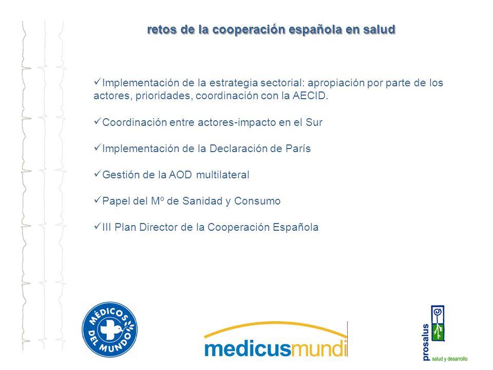 retos de la cooperación española en salud Implementación de la estrategia sectorial: apropiación por parte de los actores, prioridades, coordinación con la AECID.