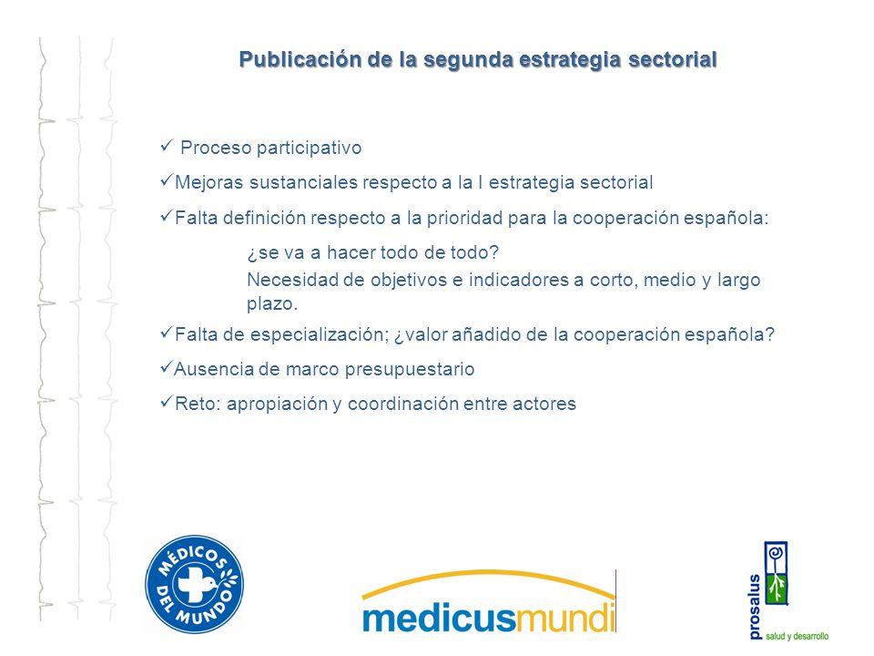 Publicación de la segunda estrategia sectorial Proceso participativo Mejoras sustanciales respecto a la I estrategia sectorial Falta definición respecto a la prioridad para la cooperación española: ¿se va a hacer todo de todo.