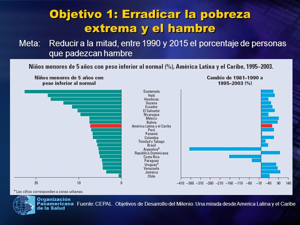Organización Panamericana de la Salud Objetivo 2: Lograr la ensenanza primaria universal Meta: Velar para que en el ano 2015, los ninos y ninas de todo el mundo puedan terminar un ciclo completo de ensenanza primaria Fuente: CEPAL.