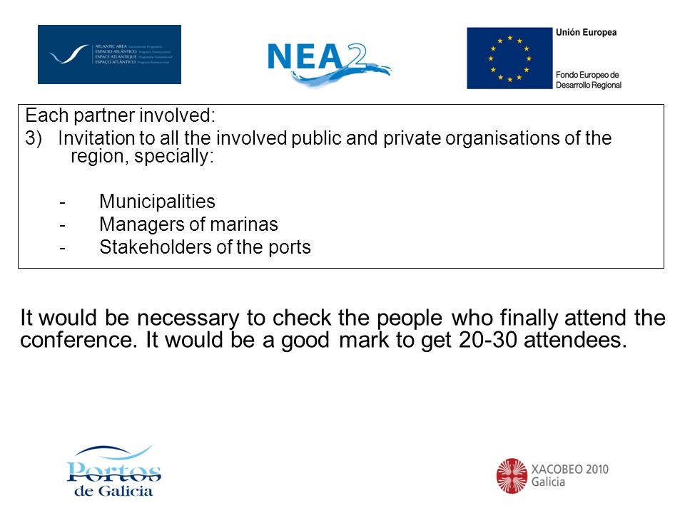 Each partner involved: 3) Invitation to all the involved public and private organisations of the region, specially: -Municipalities -Managers of marinas -Stakeholders of the ports It would be necessary to check the people who finally attend the conference.