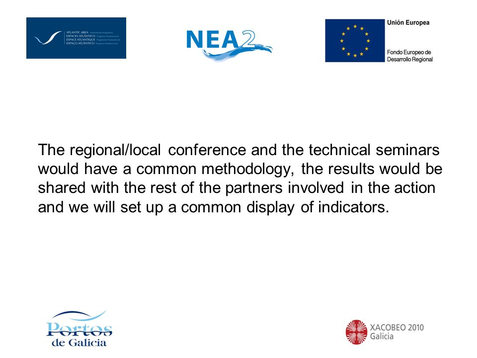 The regional/local conference and the technical seminars would have a common methodology, the results would be shared with the rest of the partners involved in the action and we will set up a common display of indicators.