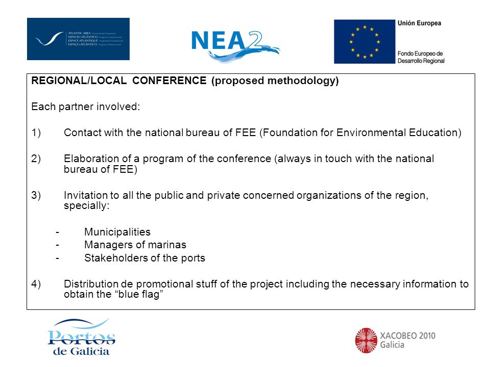 REGIONAL/LOCAL CONFERENCE (proposed methodology) Each partner involved: 1)Contact with the national bureau of FEE (Foundation for Environmental Educat