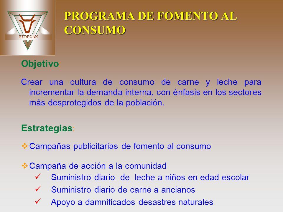FEDEGAN PROGRAMA DE FOMENTO AL CONSUMO Objetivo : Crear una cultura de consumo de carne y leche para incrementar la demanda interna, con énfasis en lo