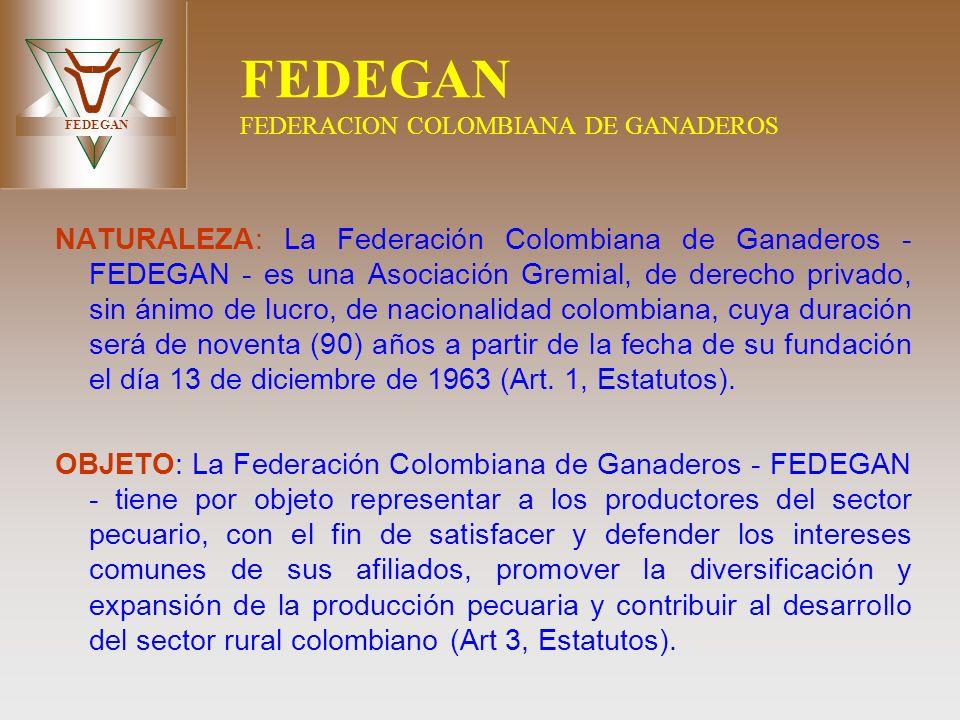 FEDEGAN FEDEGAN FEDERACION COLOMBIANA DE GANADEROS NATURALEZA: La Federación Colombiana de Ganaderos - FEDEGAN - es una Asociación Gremial, de derecho
