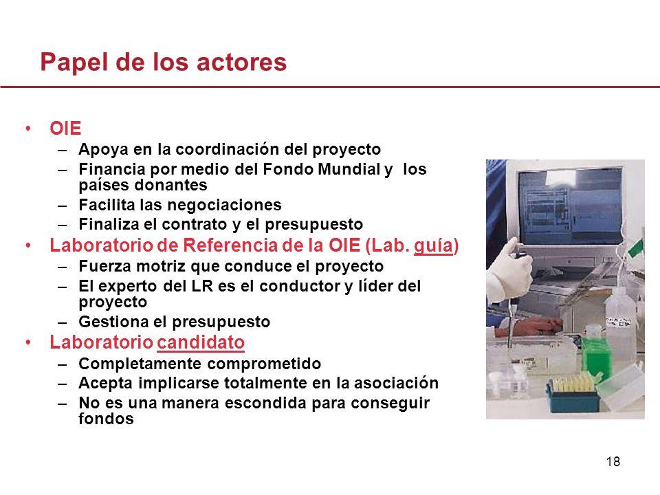 18 Papel de los actores OIE –Apoya en la coordinación del proyecto –Financia por medio del Fondo Mundial y los países donantes –Facilita las negociaci