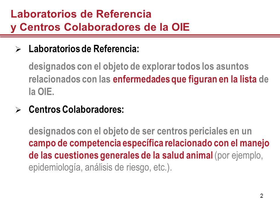 2 Laboratorios de Referencia y Centros Colaboradores de la OIE Laboratorios de Referencia: designados con el objeto de explorar todos los asuntos rela