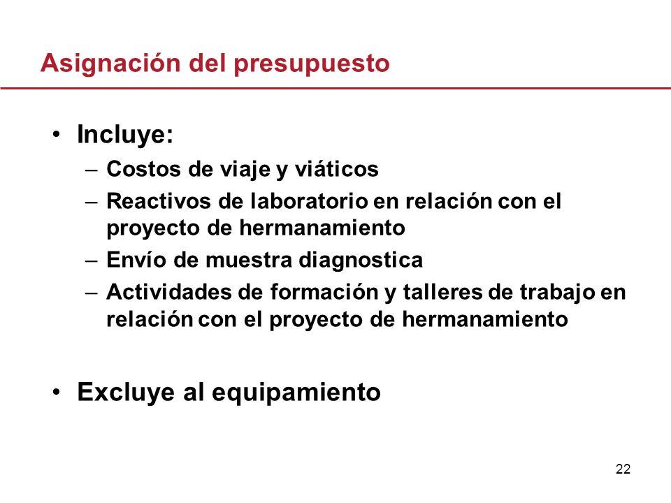 22 Asignación del presupuesto Incluye: –Costos de viaje y viáticos –Reactivos de laboratorio en relación con el proyecto de hermanamiento –Envío de mu