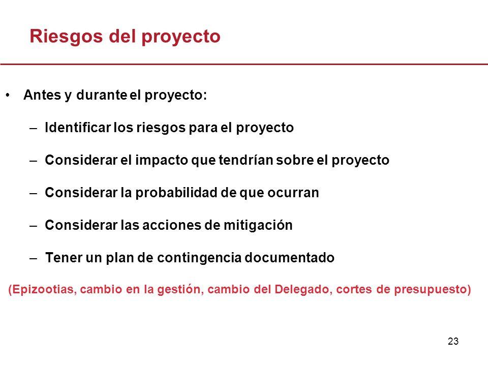 23 Riesgos del proyecto Antes y durante el proyecto: –Identificar los riesgos para el proyecto –Considerar el impacto que tendrían sobre el proyecto –