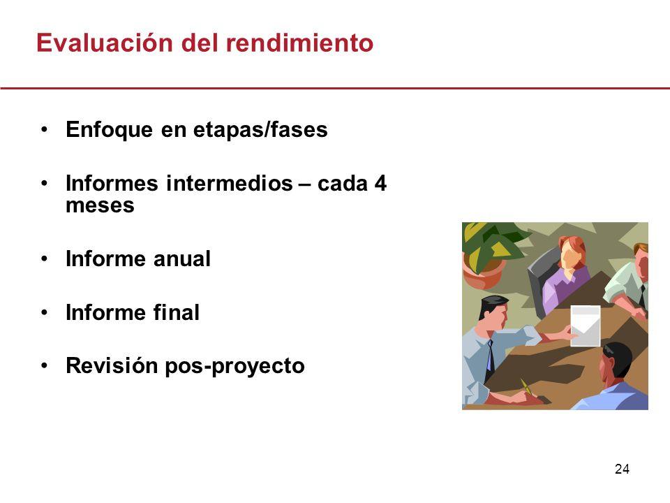 24 Evaluación del rendimiento Enfoque en etapas/fases Informes intermedios – cada 4 meses Informe anual Informe final Revisión pos-proyecto