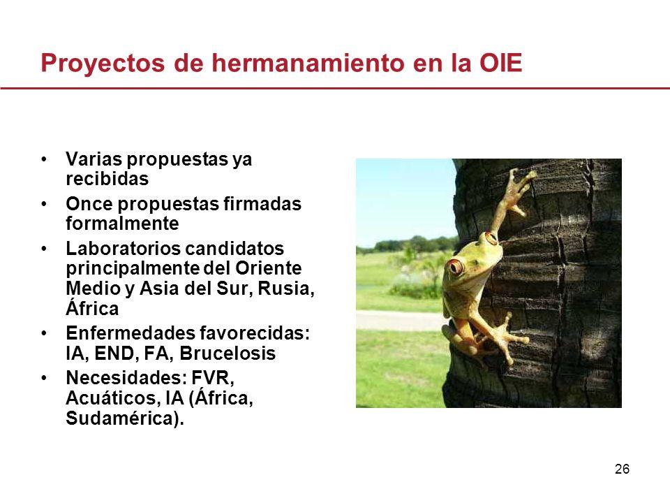 26 Proyectos de hermanamiento en la OIE Varias propuestas ya recibidas Once propuestas firmadas formalmente Laboratorios candidatos principalmente del