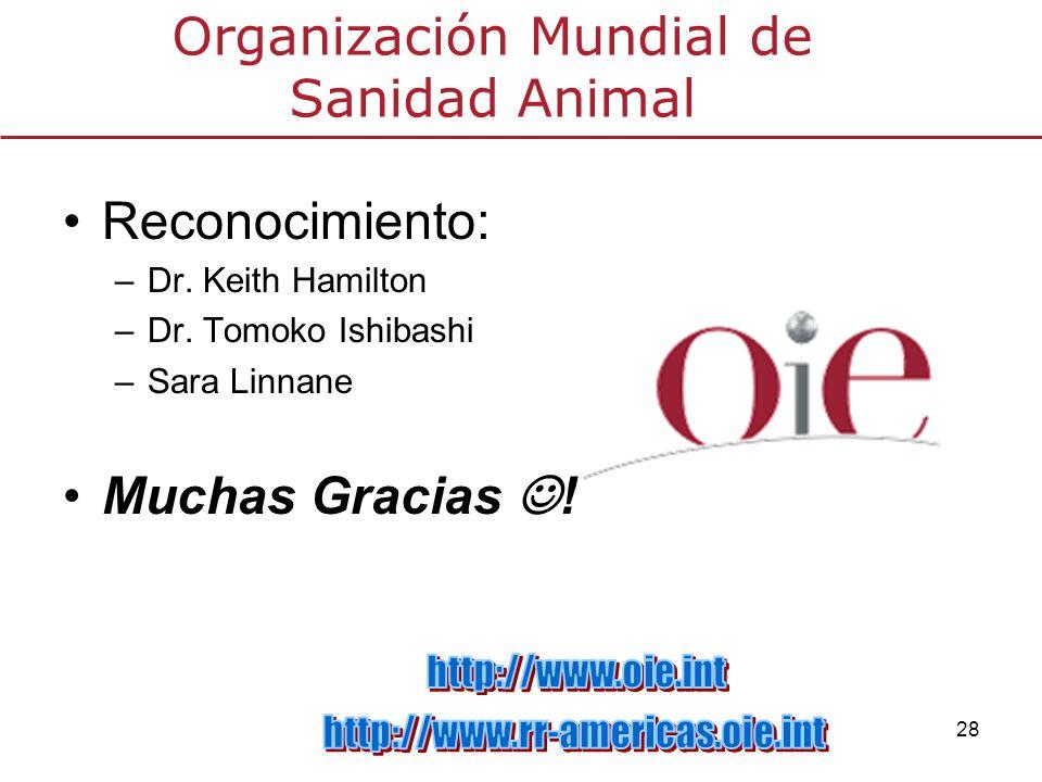 28 Organización Mundial de Sanidad Animal Reconocimiento: –Dr. Keith Hamilton –Dr. Tomoko Ishibashi –Sara Linnane Muchas Gracias !