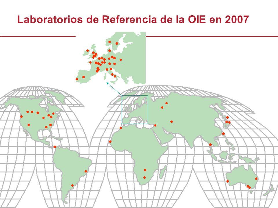 15 Países con seis o más Laboratorios de Referencia de la OIE PaísCantidad de Laboratorios de Referencia Australia8 Canadá15 Francia16 Alemania12 Italia9 Japón13 Sudáfrica6 Reino Unido30 EEUU25 Hermanamiento entre los Laboratorios de Referencia de la OIE