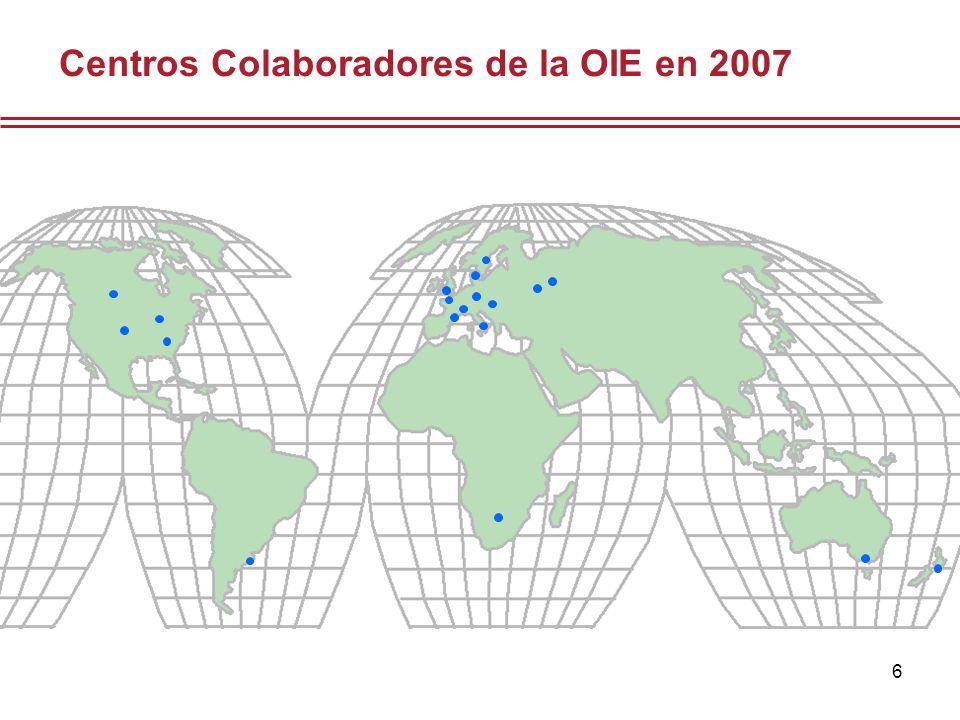 7 Laboratorios de Referencia Centros Colaboradores Cantidad17124 Países3014 Enferme- dades / Asuntos 9322 Expertos14624 Resumen de los Laboratorios de Referencia y Centros Colaboradores de la OIE en 2007