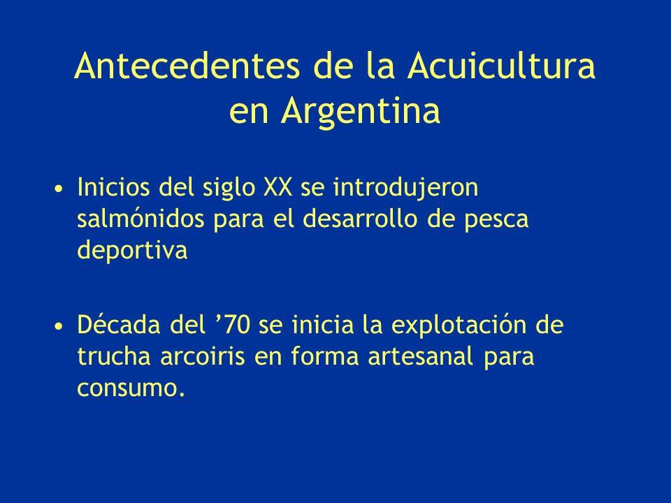 Antecedentes de la Acuicultura en Argentina Inicios del siglo XX se introdujeron salmónidos para el desarrollo de pesca deportiva Década del 70 se ini