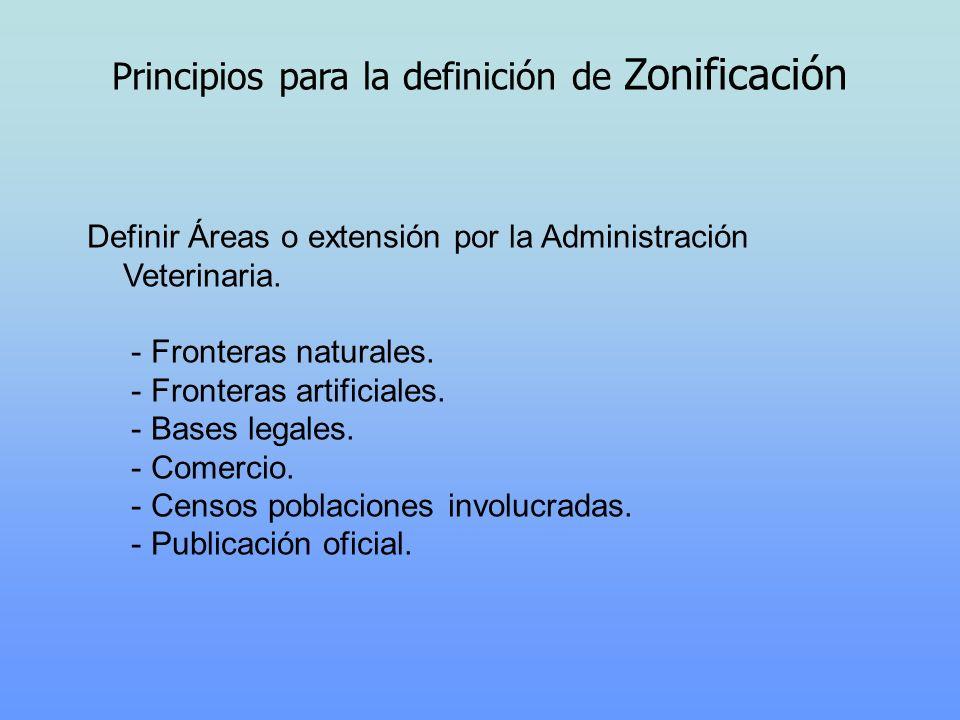 Principios para la definición de Zonificación Definir Áreas o extensión por la Administración Veterinaria. - Fronteras naturales. - Fronteras artifici