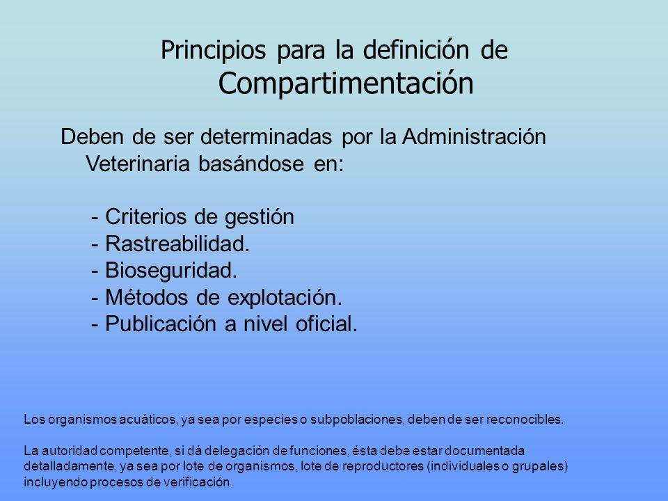 Principios para la definición de Compartimentación Deben de ser determinadas por la Administración Veterinaria basándose en: - Criterios de gestión -
