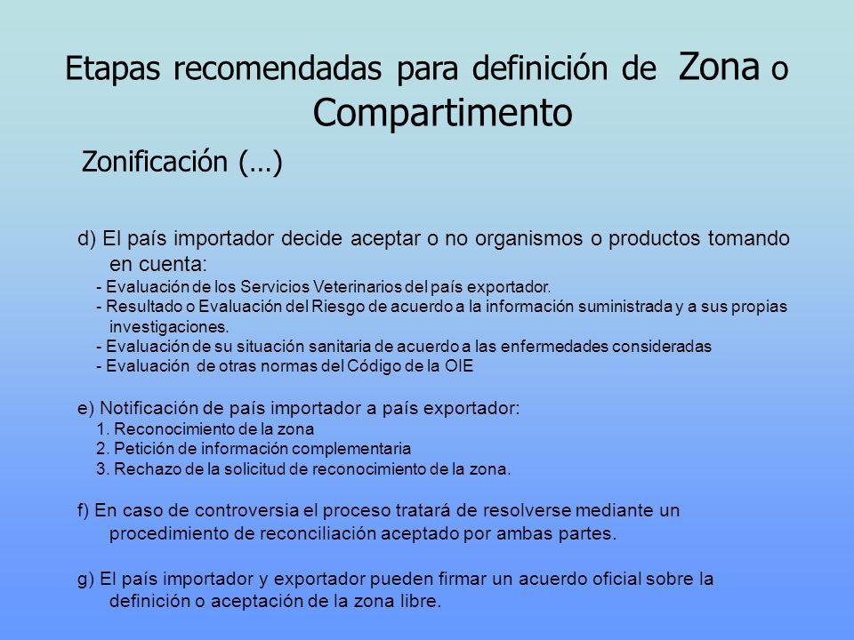 d) El país importador decide aceptar o no organismos o productos tomando en cuenta: - Evaluación de los Servicios Veterinarios del país exportador. -
