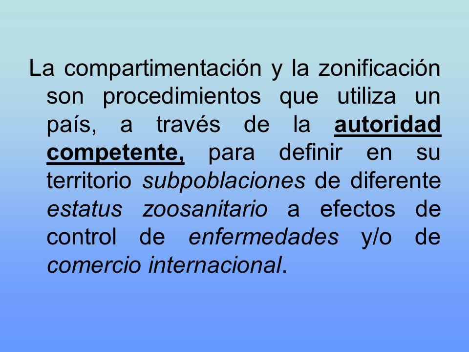 La compartimentación y la zonificación son procedimientos que utiliza un país, a través de la autoridad competente, para definir en su territorio subp