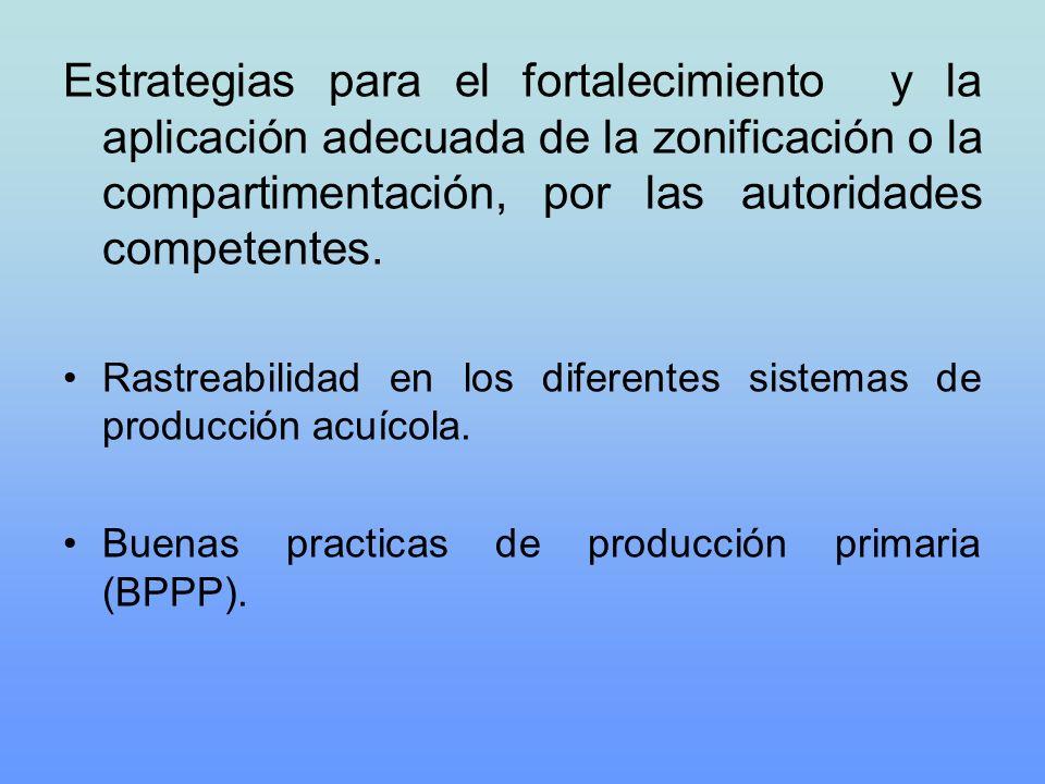 Estrategias para el fortalecimiento y la aplicación adecuada de la zonificación o la compartimentación, por las autoridades competentes. Rastreabilida