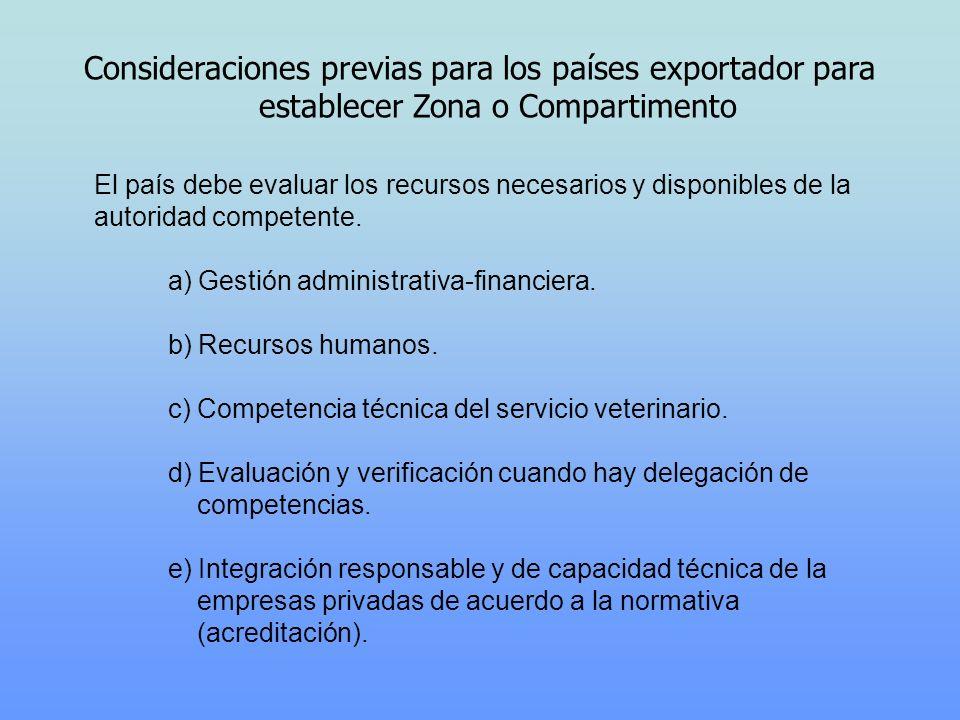 Consideraciones previas para los países exportador para establecer Zona o Compartimento El país debe evaluar los recursos necesarios y disponibles de