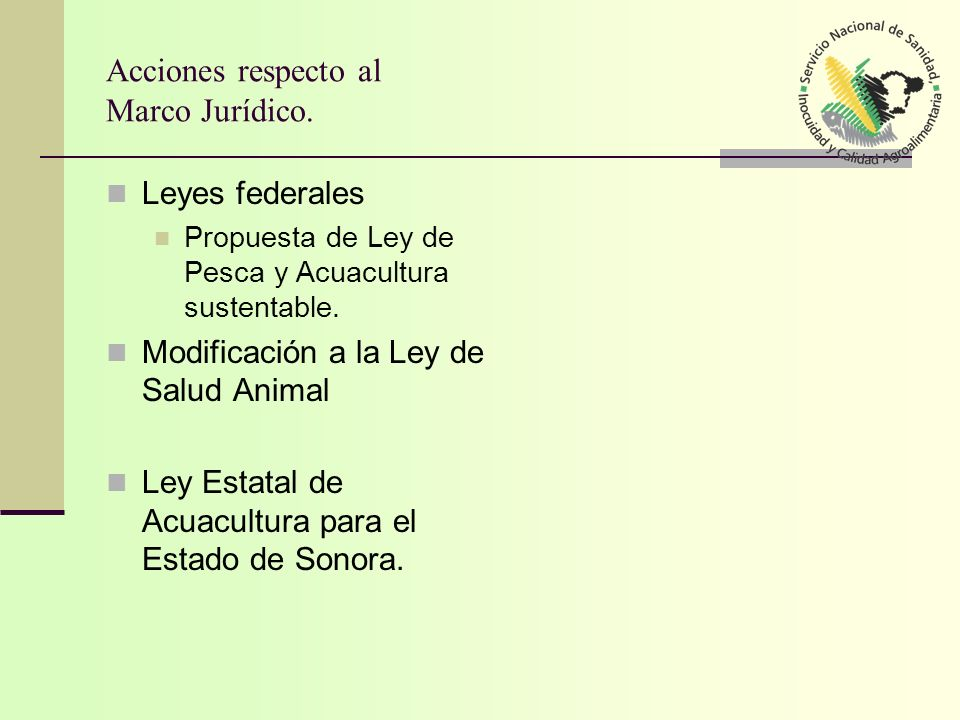 Acciones respecto al Marco Jurídico. Leyes federales Propuesta de Ley de Pesca y Acuacultura sustentable. Modificación a la Ley de Salud Animal Ley Es