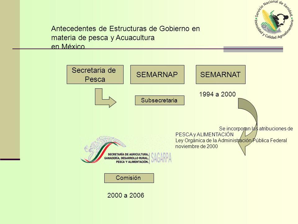 Estructuras de Gobierno en materia de pesca Y Acuacultura en México (2000-2006) -Normativas -Certificados -Vigilancia -Red de Laboratorios -Organización de Productores.