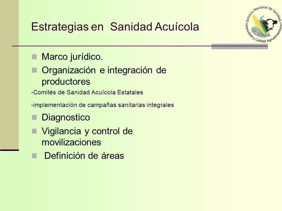 Estrategias en Sanidad Acuícola Marco jurídico. Organización e integración de productores -Comités de Sanidad Acuícola Estatales -implementación de ca