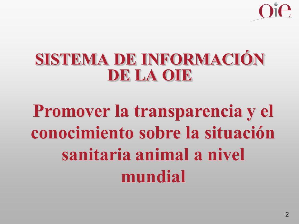 2 SISTEMA DE INFORMACIÓN DE LA OIE Promover la transparencia y el conocimiento sobre la situación sanitaria animal a nivel mundial