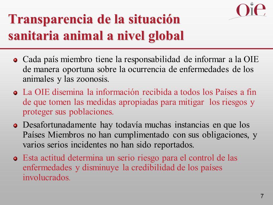 7 Transparencia de la situación sanitaria animal a nivel global Cada país miembro tiene la responsabilidad de informar a la OIE de manera oportuna sobre la ocurrencia de enfermedades de los animales y las zoonosis.