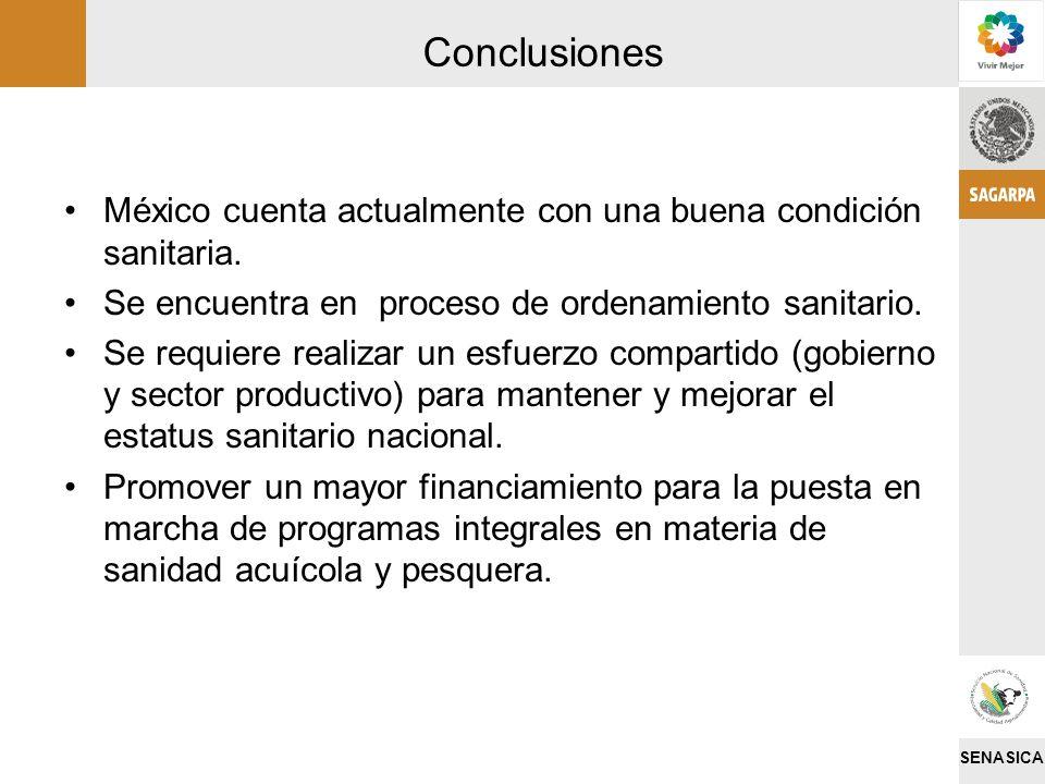 SENASICA Conclusiones México cuenta actualmente con una buena condición sanitaria. Se encuentra en proceso de ordenamiento sanitario. Se requiere real